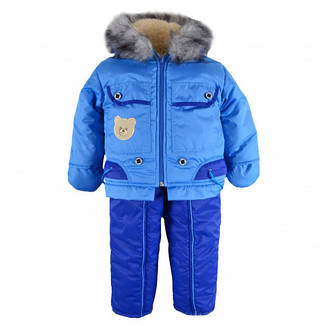 Зимний детский комбинезон-трансформер ЛАПОЧКА синий, р.74, фото 2