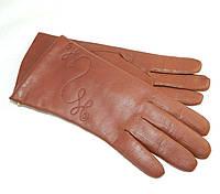 Перчатки кожаные женские с вышивкой на шерстянной подкладке