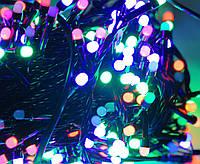 4х цветный микс,лед гирлянда нить 20 метров на 400  лед ламп в виде шарика 4мм,черный кабель