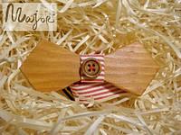 Деревянная бабочка Ретро с пуговкой