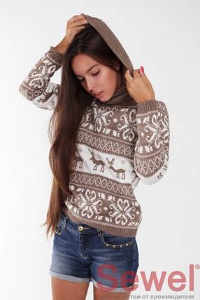 Молодежный женский свитер с орнаментом Олени, фото 2