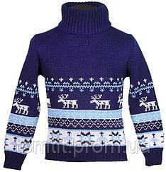 """Детский теплый шерстяной свитер """"Олени"""", для мальчика, цвет синий,"""