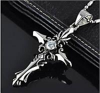 Готический кулон, крест с белым камнем, фэнтези