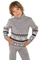 """Детский теплый шерстяной свитер """"Олени"""", для мальчика, цвет светло - серый,"""