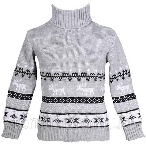 """Детский теплый шерстяной свитер """"Олени"""", для девочки, цвет светло - серый,, фото 2"""
