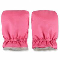 Раздельная теплая муфта для рук на ручку коляски, санок, розовая