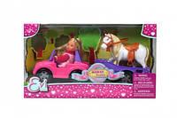 Детский набор кукла Ева и джип с трейлером и конем Simba