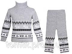 """Детский теплый шерстяной свитер """"Олени"""", для девочки, цвет светло - серый,, фото 3"""
