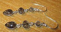Серебряные серьги с турмалиновым кварцем    от студии LadyStyle.Biz