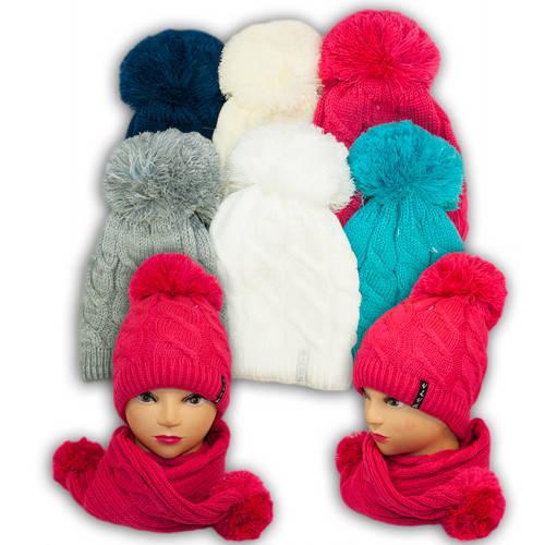 Шапка и шарф для девочек, V216, подкладка флис