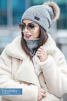 Женская шапка с меланж бубоном