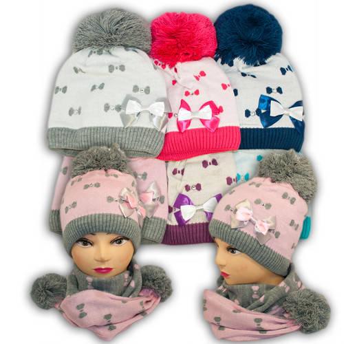 Шапка и шарф для девочек, V229, подкладка флис