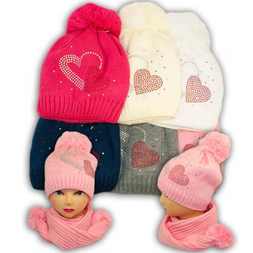 Шапка и шарф для девочек, V224, подкладка флис