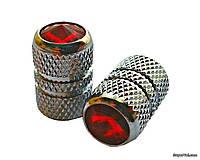 Колпачки ниппеля TW V-07, серебристо-красные, 4 шт