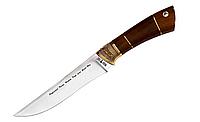 Нож охотничий Подарочный, рукоятка дерево-латунь, кожанный чехол, ручной работы
