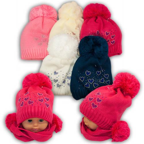 Вязанная шапка с длинными ушами для девочек, V274, подкладка флис