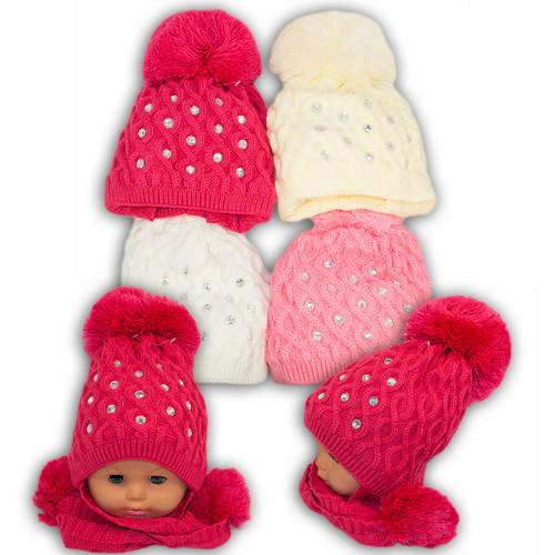 Вязанная шапка с длинными ушами для девочек, V210, подкладка флис