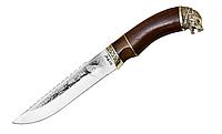 Нож охотничий Волк Подарочный-1, рукоятка дерево-латунь, кожанный чехол, работа мастера, с гравировкой