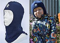 Детский шлем-шапка зимний однотонный балаклава шерстяной