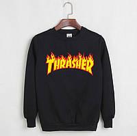 Свитшот Thrasher Flame черный с логотипом,унисекс (мужской,женский,детский)