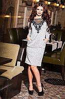 Женское платье из ангоры с дорогим гипюром Цвета серый, черный, графит, красный, марсала Размеры:42-52  KV 393