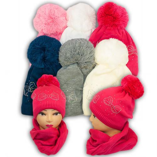 Шапка и шарф (хомут) для девочек, V295, подкладка флис