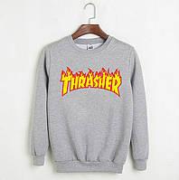 Свитшот Thrasher Flame серый с логотипом,унисекс (мужской,женский,детский)
