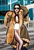 Парка с мехом финского енота и плащевка цвета хаки, фото 3