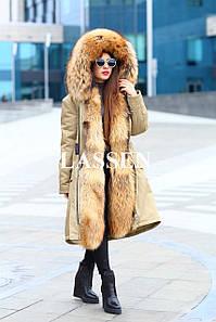 Парка зимняя с мехом финского енота