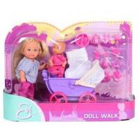 Детский набор кукла Еви с малышом в коляске Simba