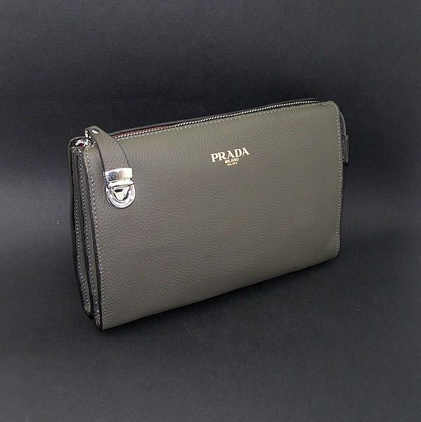 Клатч кожаный мужской серый Prada 2135-1