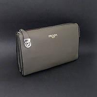 Клатч кожаный мужской серый Prada 2135-1, фото 1