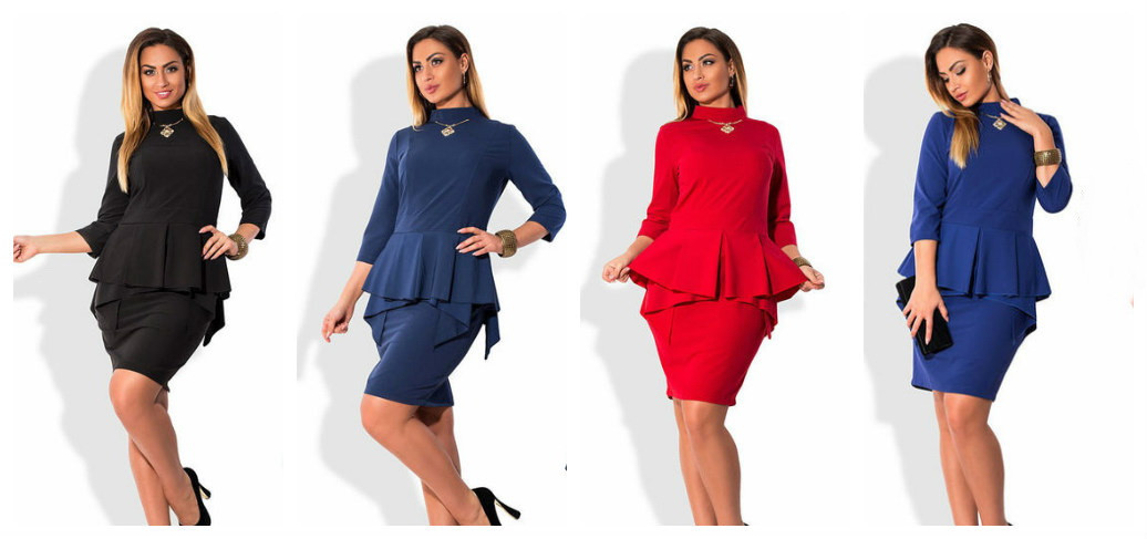 21604d7707dae11 Вечернее платье с баской большого размера 50-54, цена 615 грн., купить в  Николаеве — Prom.ua (ID#415053095)
