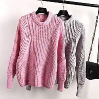 """Модный, женский, теплый свитер """"Объемная вязка из трехцветной нитки""""  фабричный Китай РАЗНЫЕ ЦВЕТА"""