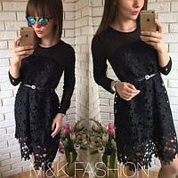 """Стильное, нарядное, женское платье """"Кружево + гипюр"""" фабричный Китай"""