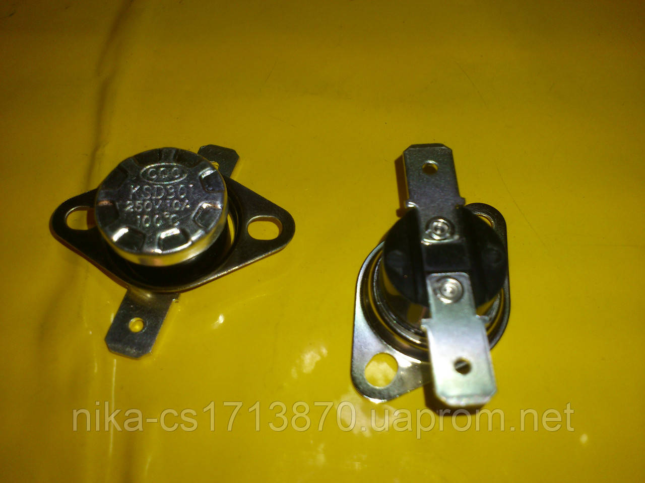 Реостат авто включения-выключения KSD 301 / 100℃ / 250 в. / 10 А / 17 мм. диаметр . Нормально замкнут .