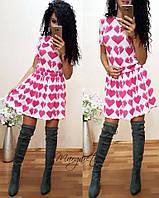 """Костюм теплый из ангоры футболка и пышная юбка мини """"Сердца"""" 2 расцветки Kp108"""