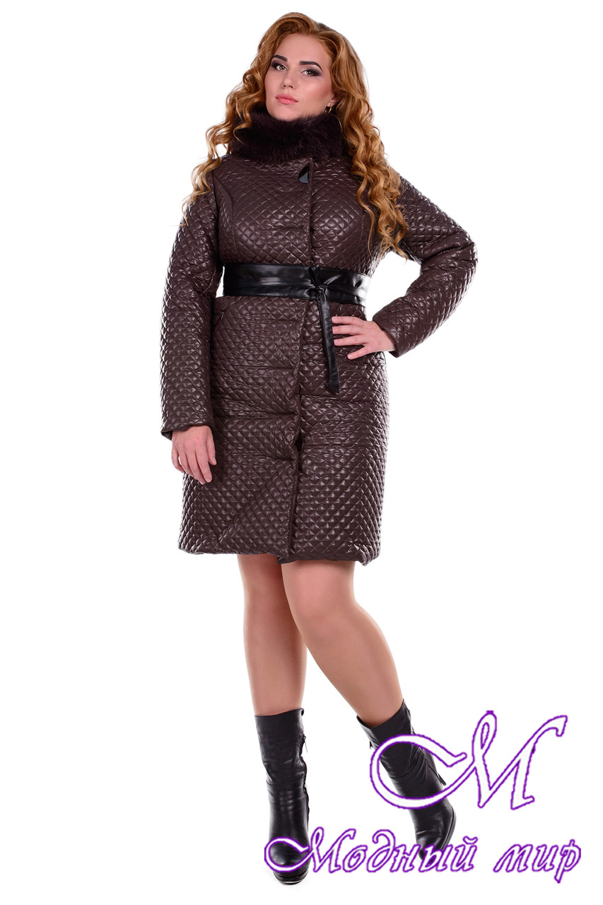 Женское стеганое зимнее пальто больших размеров р. XL, XXL арт. Андрия донна песец зима - 6658