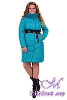 Женское бирюзовое зимнее пальто больших размеров р. XL, XXL арт. Андрия донна песец зима - 6659