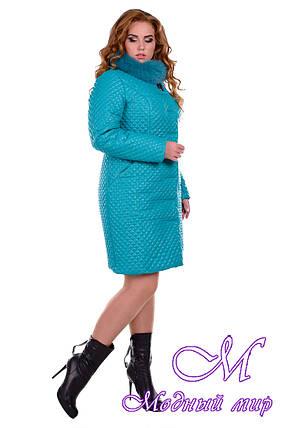 Женское бирюзовое зимнее пальто больших размеров р. XL, XXL арт. Андрия донна песец зима - 6659, фото 2