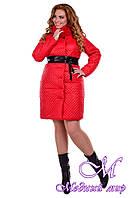Женское красное зимнее пальто больших размеров р. XL, XXL арт. Андрия донна песец зима - 6657