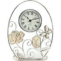 """Часы настольные 12,5х5х16,5 см. """"Бабочка с розой"""" металлические со стразами, Jardin D'ete"""