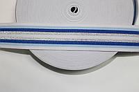 Резинка декоративная 45мм, белый+голубой+василек+серебро , фото 1