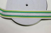 Резинка декоративная 45мм, белый+зеленый+салат+серебро , фото 1