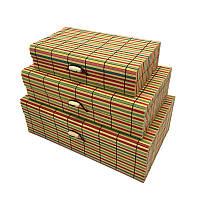 """Шкатулка бамбуковая 18x10x4,5 см. """"Полосы"""" разноцветная"""