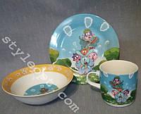 Детский набор посуды из фарфора Смешарики, 3 предмета