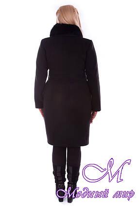 Женское черное зимнее пальто большого размера (р. XL-4XL) арт. Кураж донна зима - 1812, фото 2
