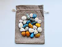 """Руны каменные Ассорти (набор рун 25 шт. из разных камней) в мешочке цвета """"Утренний Кофе"""""""