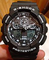 Casio G-Shock GA 100 черный с белыми надписями black white