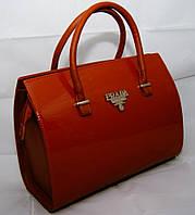 Каркасная сумка Prada (Прада), карамель, лаковая